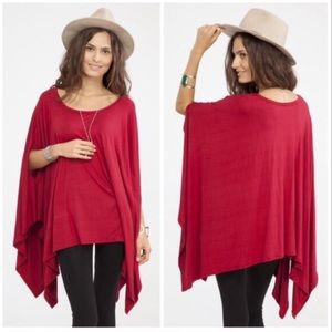 Tops - Christmas Red Oversized Poncho